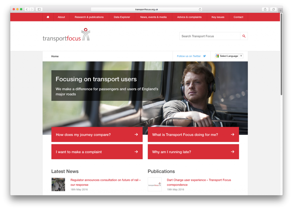transport focus website homepage