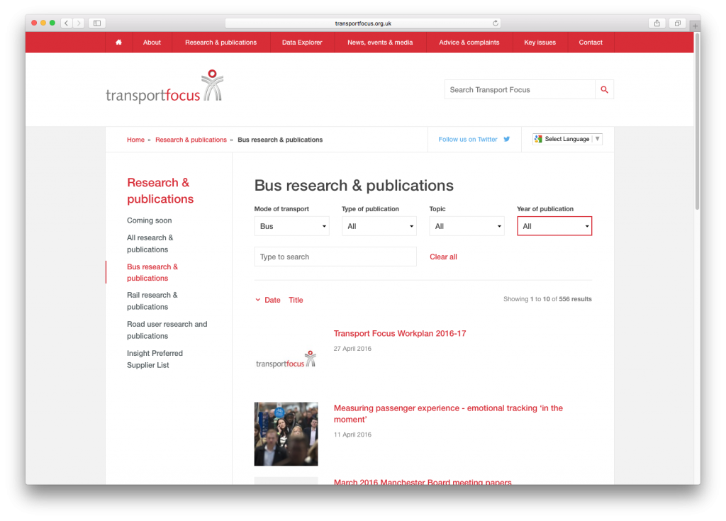 transport focus website publication directory