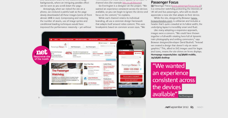transport Focus Responsive Web Design feature in Net Magazine