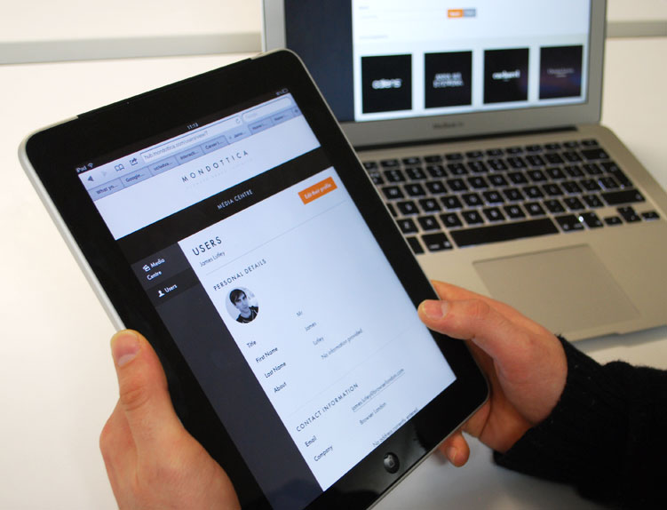 The mondottica web-based document portal being used on a tablet