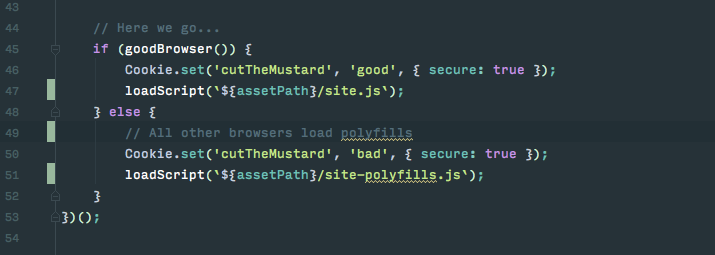 A code snippet of the BBC's Cut the mustard selective loading code