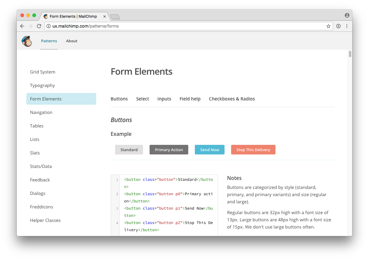 screen shot showing mailchimp form patterns