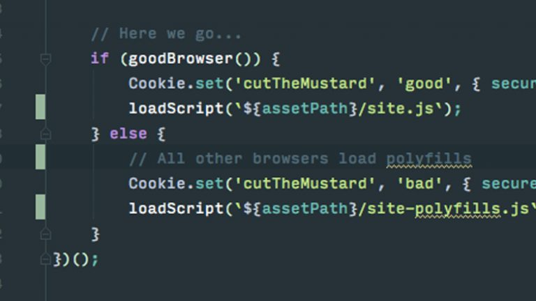 Snippet of progressive enhancement code