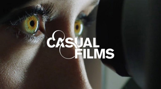 casual films logo in white on a photo background