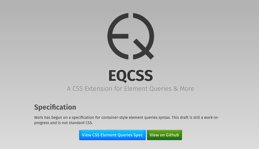 EQCSS homepage screenshot