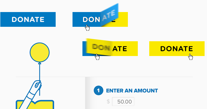 Set of images showing an animated 'donate' button