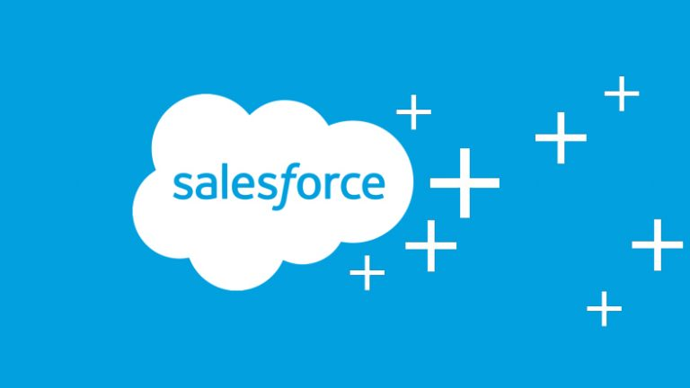 salesforce logo white on blue