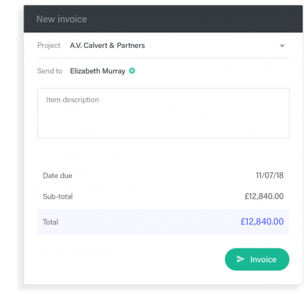 Invoice feature example from within a custom web app