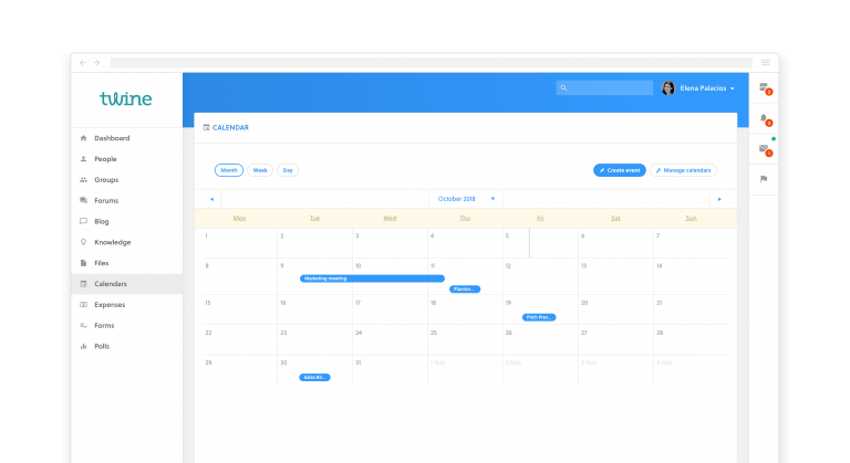 An example of a calendar on our Twine intranet web application