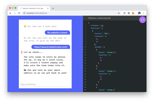 A screenshot of a chatbot based on IBM Watson that we built as part of a hackathon