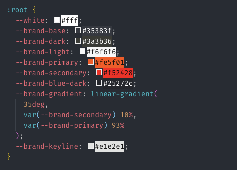 Example of CSS Variables code