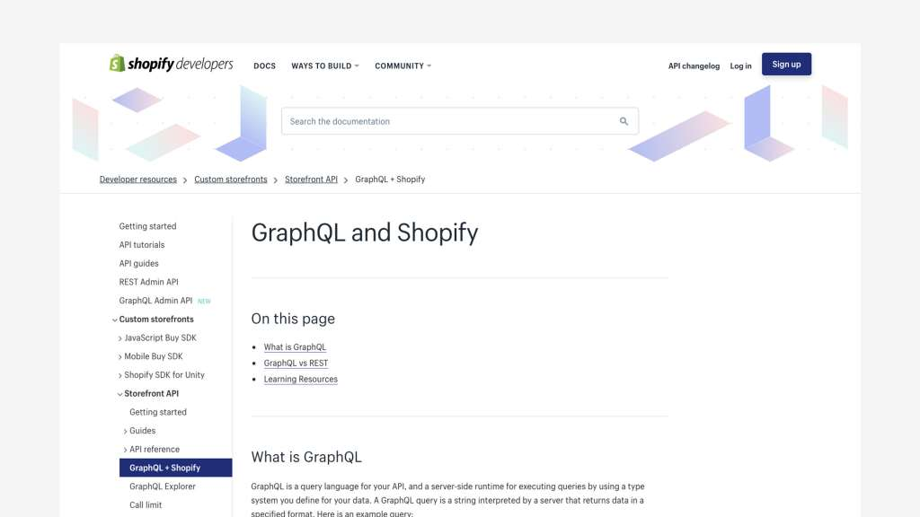 Screen shot of GraphQL and Shopify API docs