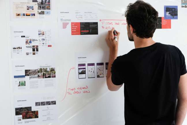 A researcher maps out user journeys on a whiteboard as part of a UX exercise