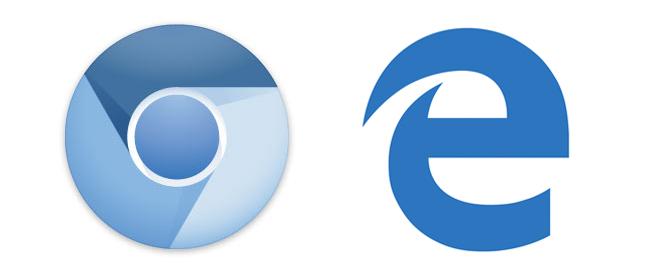 Edge and chromium logos in blue on white