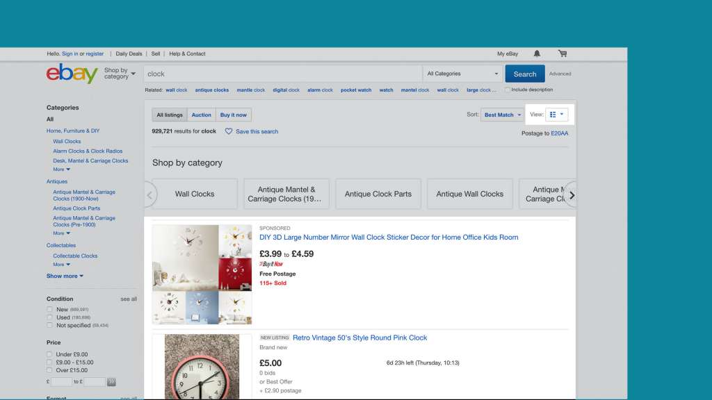 Screenshot showing the eBay toggle functionality.