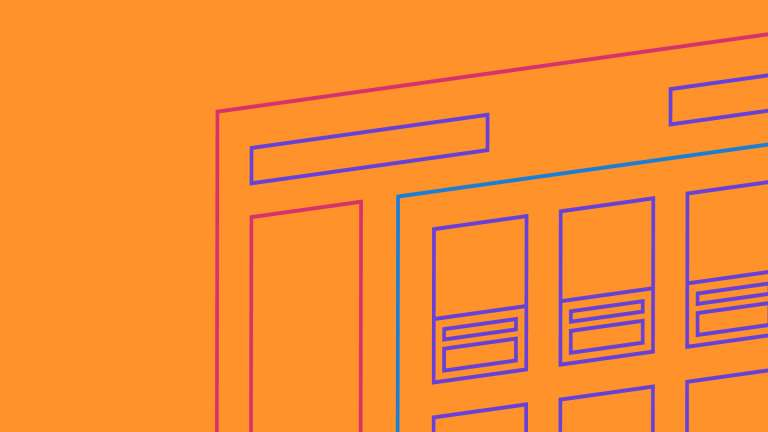 An illustration website wireframe on an orange background
