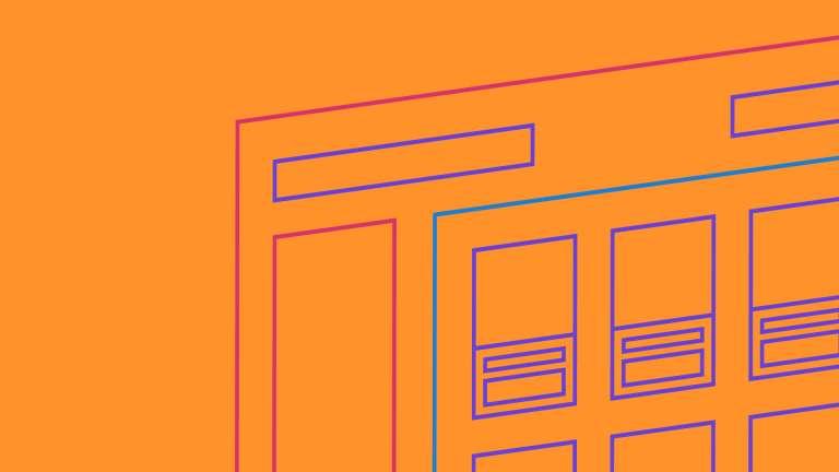 An illustration website wireframe on an orange background