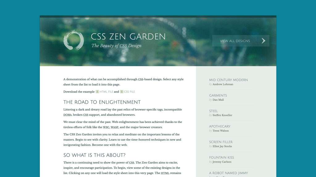 Screenshot of CSS Zen Garden