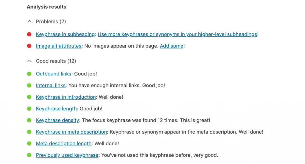 An example of the feedback from the Yoast WordPress plugin