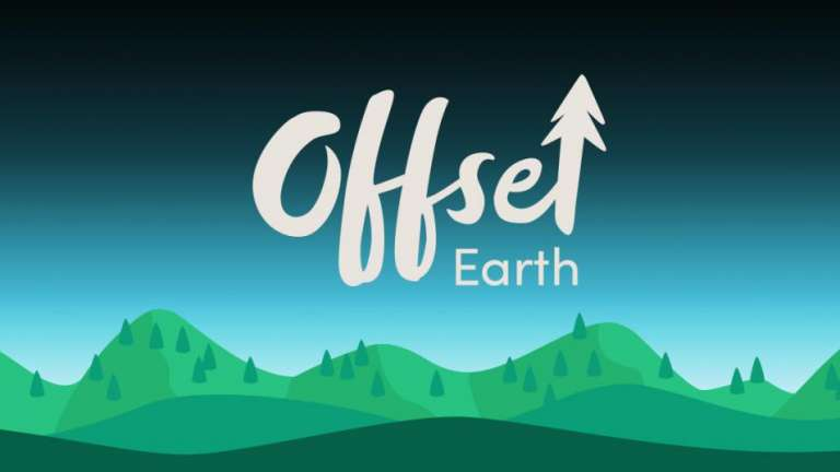 Offset Earth logo on illustrated background
