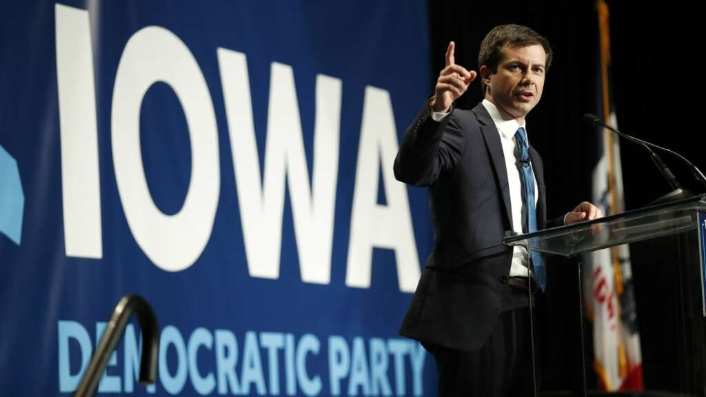 Pete Buttigieg gives a speech in Iowa