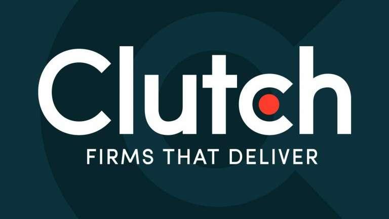 Clutch logo white on blue