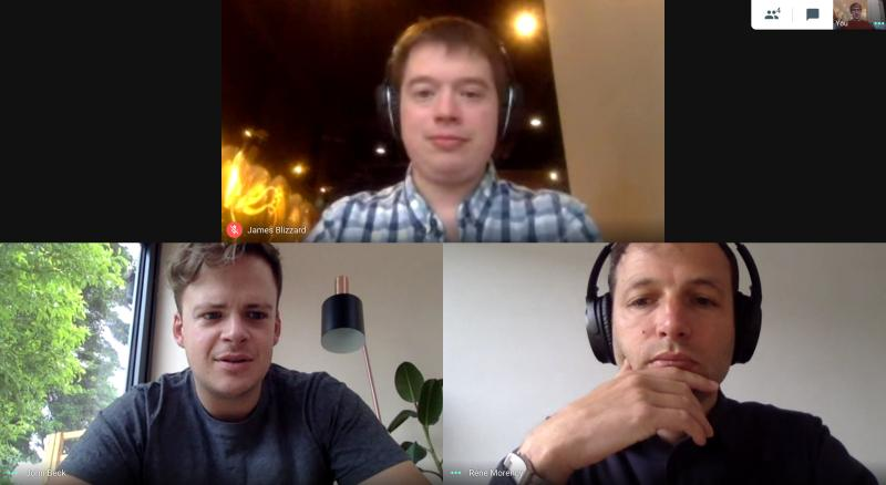 Three people use a video call platform while working from home