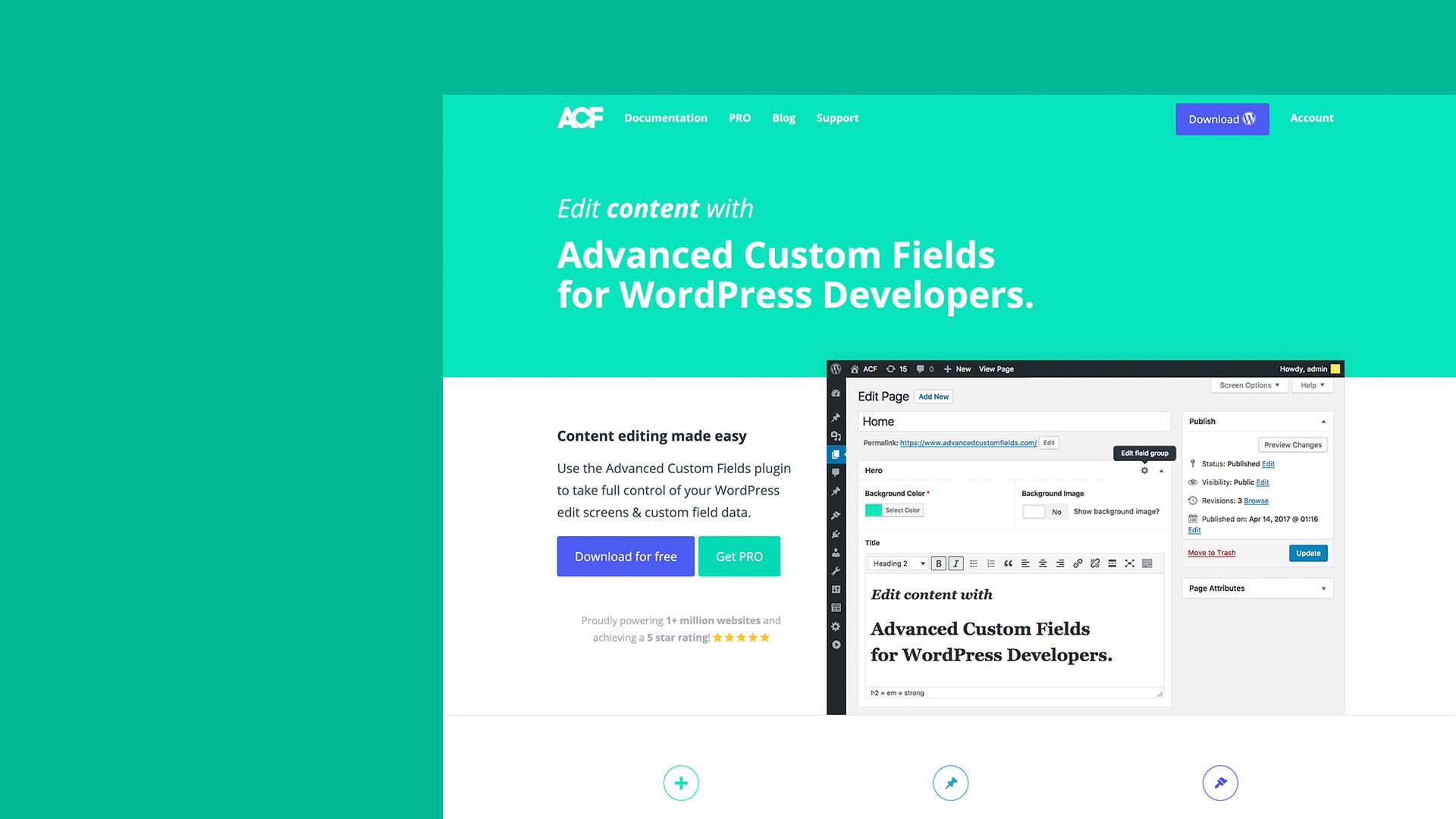 The Advanced Custom Fields website.