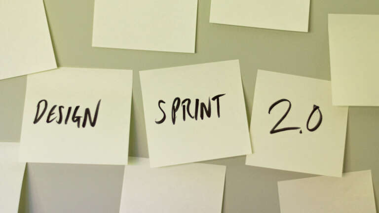 Design sprint 2.0 on post it notes