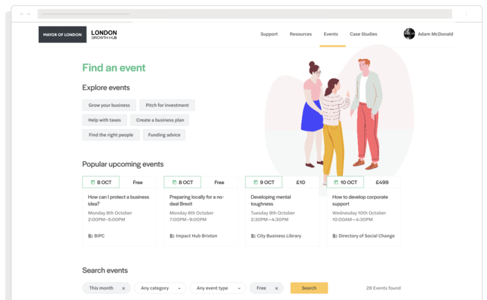 An example of the London Growth Hub events page