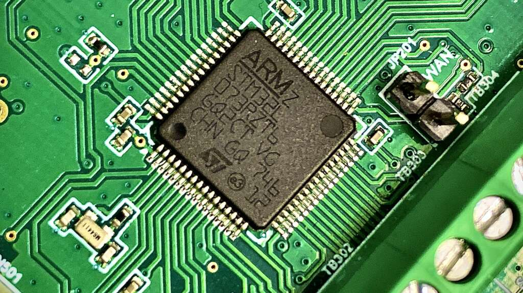 Close up of an ARM processor on a circuit board